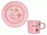 Pink Baby Bright Plate and Cup Set
