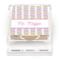 Chevron Pencil Pink Sticky Note Holder