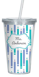 Lilac And Turquoise Clear Acrylic Tumbler