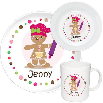 Gingerbread Dots Girl Melamine Set  sc 1 st  Script and Scribble & Gingerbread Dots Girl Melamine Set | Kids Dinnerware | Christmas Gifts
