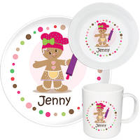 Gingerbread Dots Girl Melamine Set