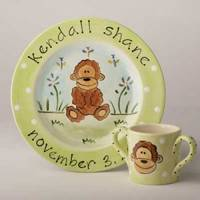 Monkey Hand Painted Plate SL15P