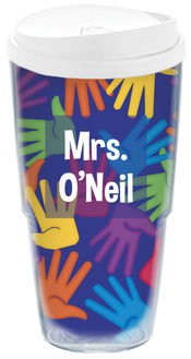 Bright Handprints Acrylic Travel Cup