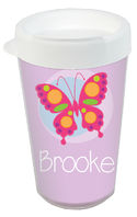 Pink Butterfly Clear Acrylic Tumbler