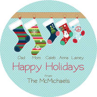 Stockings Family Round Gift Stickers