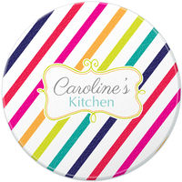 Colorful Candy Stripes Round Glass Cutting Board