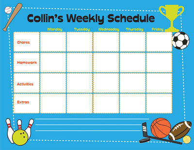 Custom Printable Weekly Homework Calendar,Printable.Printable