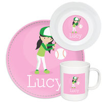 Baseball Girl Melamine Set