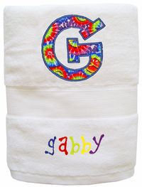 Initial Tie Dye Embroidered and Applique Towel