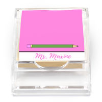 Bright Pink Pencil Sticky Note Holder