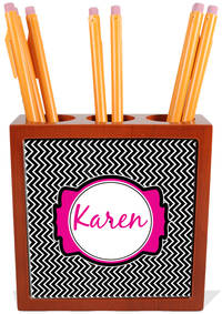 Black Chevron Pencil and Pen Holder