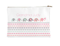 Elephant in a Row Small Accessory Flat Pouch