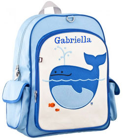 Lucas Whale Large Embroidered Backpack