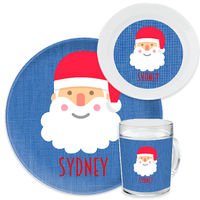 Happy Santa Blue Dinnerware Set