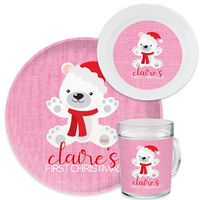 First Christmas Bear Pink Dinnerware Set