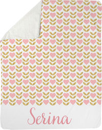 Pink and Gold Hearts Sherpa Blanket