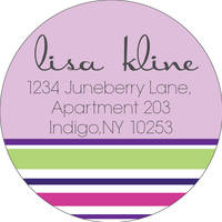 Stripes Lavender Return Address Label