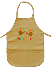 Finger Paint Turkey Embroidered Apron