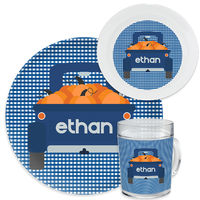 Blue Gingham Truck Dinnerware Set
