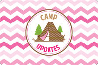 Tent Ready Pink UNPERSONALIZED Camp Postcards