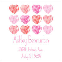 Scribble Hearts Return Address Label