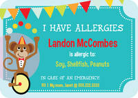 Juggling Monkey Allergy Card